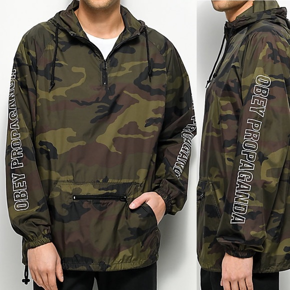 268ce40f9b8f2 Obey Jackets & Coats | Rough Draft Camo Anorak Windbreaker Jacket ...